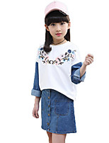 Girls' Solid Print Embroidered Sets,Cotton Spring Fall Long Sleeve Clothing Set