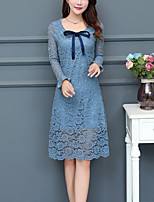 Women's Going out Plus Size Street chic Lace Dress,Solid Round Neck Knee-length Long Sleeves Polyester Fall Winter Mid Rise Inelastic