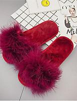 Damen Schuhe Pelz Herbst Winter Komfort Pelzfutter Slippers & Flip-Flops Flacher Absatz Offene Spitze Für Normal Schwarz Rot Grün Wein