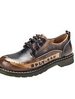 Men's Oxfords Comfort Combat Boots Fall Winter Leather Casual Outdoor Flat Heel Burgundy Blue Brown Gray Black Flat
