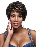 Women Synthetic Wig Capless Short Wavy Dark Brown/Dark Auburn For Black Women Highlighted/Balayage Hair Natural Wigs Costume Wigs