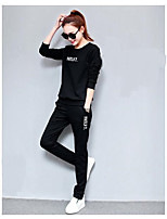 Women's Running Simple Spring Fall Hoodie Pant Suits,Simple Round Neck Long Sleeve Micro-elastic