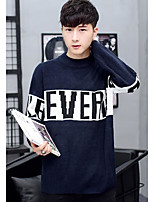 Men's Casual/Daily Regular Pullover,Print Round Neck Long Sleeves Others Spring Winter Medium Micro-elastic