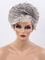 Women Human Hair Capless Wigs Black/Grey Short Curly Side Part Ombre Hair