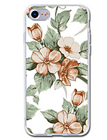 baratos -Capinha Para Apple iPhone 7 Plus iPhone 7 Transparente Estampada Capa traseira Flor Macia TPU para iPhone 7 Plus iPhone 7 iPhone 6s Plus