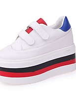 Women's Shoes PU Fall Winter Comfort Sneakers Flat Heel Round Toe Magic Tape For Casual Blue Black