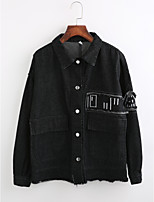 Women's Going out Street chic Winter Denim Jacket,Solid Shirt Collar Long Sleeve Regular Cotton