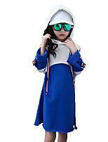 Girl's Birthday Casual/Daily Sports Solid Striped Patchwork Dress,Cotton Polyester Spring Fall Long Sleeve