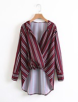 Women's Going out Casual/Daily Sexy Simple Street chic Summer Shirt,Striped V Neck Long Sleeves Cotton Thin Medium