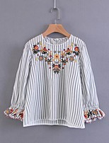 Women's Going out Casual/Daily Simple Street chic Spring Fall Shirt,Striped Embroidery Round Neck Half Sleeves Others Thin Medium