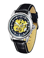 Men's Mechanical Watch Automatic self-winding Noctilucent Genuine Leather Band Vintage Black Brown
