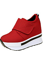 Women's Shoes Fabric Fall Winter Light Soles Sneakers Platform Round Toe Magic Tape For Casual Office & Career Red Black