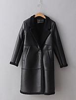 Для женщин На выход На каждый день Зима Пальто с мехом Лацкан с тупым углом,Простой Активный Уличный стиль Однотонный Длинная Длинный