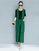 Women's Casual/Daily Simple Fall Tank Top Pant Suits,Solid Round Neck Sleeveless Micro-elastic