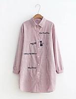Для женщин На каждый день На выход Весна Осень Рубашка Рубашечный воротник,Простое Очаровательный Уличный стиль Полоски С принтом Буквы