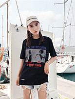 Women's Going out Casual/Daily Street chic Summer T-shirt,Print Round Neck Short Sleeves Cotton Opaque