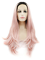 Women Synthetic Wig Lace Front Long Natural Wave Black/Pink Ombre Hair Dark Roots Natural Wigs Costume Wig