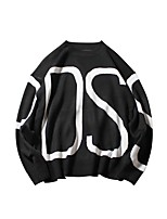 Men's Casual/Daily Street chic Regular Pullover,Striped Round Neck Long Sleeves Cotton Polyester Fall Winter Medium Micro-elastic