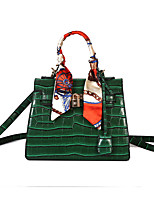 Women Bags All Seasons PU Shoulder Bag with Zipper for Casual Black Dark Green