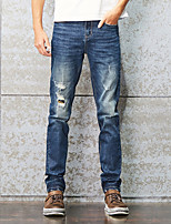 Men's Mid Rise Micro-elastic Jeans PantsSimple Straight Slim Ripped Patchwork Solid