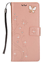 For Case Cover Card Holder Wallet Rhinestone with Stand Flip Magnetic Pattern Full Body Case Butterfly Hard PU Leather for Samsung Galaxy
