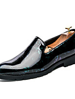 Men's Shoes PU Patent Leather Spring Fall Formal Shoes Comfort Loafers & Slip-Ons Flower For Bar Party & Evening Dark Green Wine Black