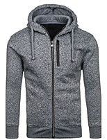 Men's Going out Casual/Daily Simple Cute Street chic Hoodie Solid Hooded Micro-elastic Cotton Polyester Long Sleeve Spring Fall