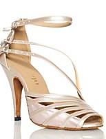 Women's Latin Silk Faux Leather Sandal Performance Splicing Cuban Heel Blushing Pink Silver Black 2