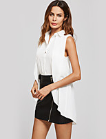 Women's Going out Casual/Daily Simple Street chic Summer Fall Shirt,Solid Shirt Collar Sleeveless Polyester