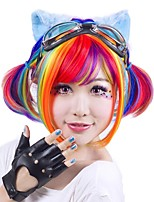 Women Synthetic Wig Capless Short Straight Black/Rose Red Rainbow Bob Haircut Party Wig Halloween Wig Cosplay Wig Costume Wig