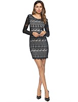 SUOQI Women's Party Going out Sexy Bodycon Lace Dress,Polka Dot Round Neck Mini Above Knee Long Sleeves Polyester Summer Fall Low Rise