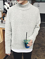 Men's Work Regular Pullover,Solid Round Neck Long Sleeves Others Spring Winter Medium Micro-elastic