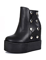 Women's Shoes Leatherette Spring Fall Winter Basic Pump Comfort Novelty Boots Wedge Heel Booties/Ankle Boots Beading Rivet For Wedding
