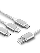 USB 2.0 Cable, USB 2.0 to USB 2.0 Tipo C Micro USB 2.0 Lightning Cable Macho - Macho 1,5 m (5 pies)
