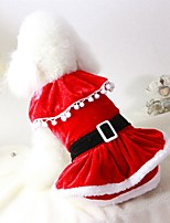 Cat Dog Costume Coat Dress Dog Clothes Party Casual/Daily Cosplay Keep Warm Wedding Halloween Christmas New Year's Solid Red
