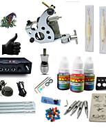 Starter Tattoo Kit 1 steel machine liner & shader LCD power supply 1 × 5ml Tattoo Ink 1 x aluminum grip 2 x disposable grip Complete Kit