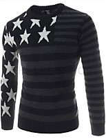 Men's Casual/Daily Regular Pullover,Geometric Round Neck Long Sleeves Cotton Fall Winter Medium Stretchy