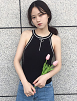 Women's Casual/Daily Simple Tank Top,Solid Halter Sleeveless Polyester