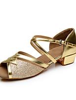 Da donna Balli latino-americani Finta pelle Tacchi Principiante Basso Oro Argento Personalizzabile