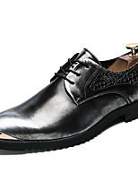 Men's Shoes Patent Leather Fall Winter Formal Shoes Oxfords Lace-up For Casual Party & Evening Gray Black Gold