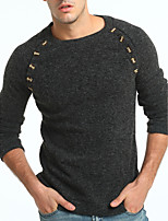 Men's Casual/Daily Work Regular Pullover,Solid Round Neck Long Sleeves Polyester Winter Thick Micro-elastic