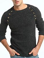 Недорогие -Для мужчин На каждый день Офис Обычный Пуловер Однотонный,Круглый вырез Длинный рукав Полиэстер Зима Толстая Слабоэластичная