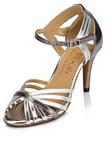 Women's Latin Faux Leather Sandal Heel Sneaker Indoor Splicing Stiletto Heel Silver Gold 3
