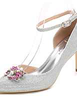 Women's Shoes Glitter Spring Fall Basic Pump Ankle Strap Wedding Shoes Stiletto Heel Pointed Toe Crystal Sparkling Glitter For Wedding