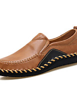 Men's Shoes Real Leather Spring Fall Comfort Loafers & Slip-Ons Split Joint For Casual Party & Evening Red Brown Black