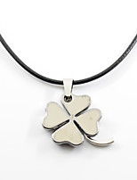 Men's Women's Pendant Necklaces Four Leaf Clover Alloy Metallic Hip-Hop Jewelry For Gift Daily