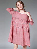 JIANRUYI Women's Casual/Daily Simple Loose Dress,Check Round Neck Above Knee Long Sleeves Cotton Fall Mid Rise Inelastic Medium