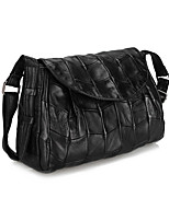 Women Bags All Seasons Sheepskin Shoulder Bag Buttons Zipper for Event/Party Office & Career Black