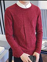 Herren Standard Pullover-Ausgehen Solide Rundhalsausschnitt Langarm Andere Frühling Winter Mittel Mikro-elastisch