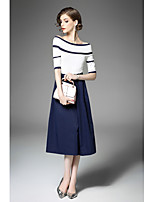 Women's Going out Street chic Fall T-shirt Skirt Suits,Color Block Round Neck Half Sleeves Micro-elastic